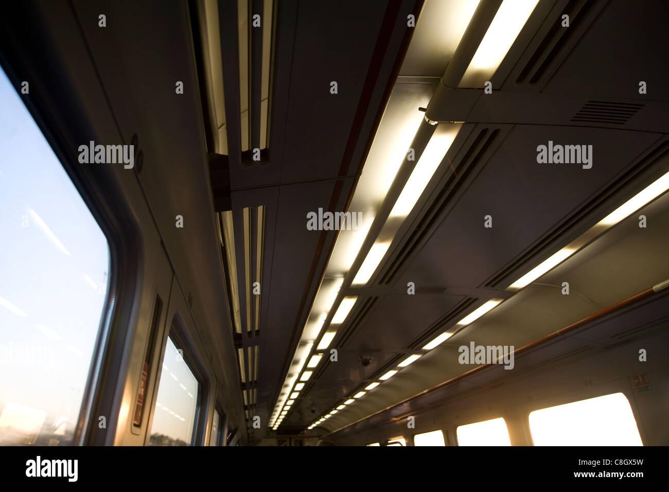 Lichter im Zug Schlittenbewegung Bewegung einer Reise Stockbild