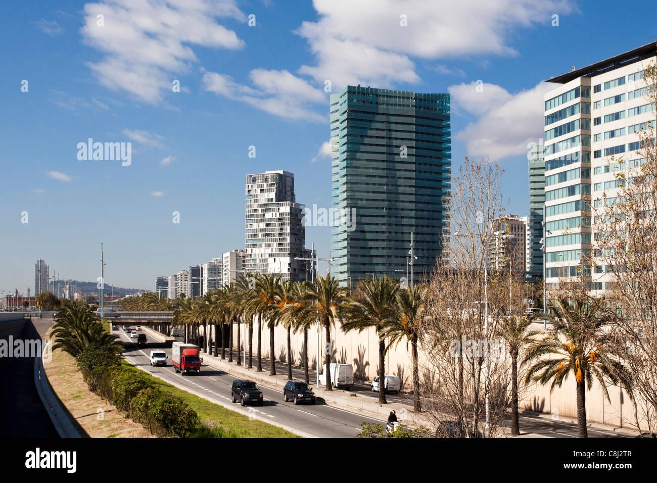 Catalunya, Barcelona, Spanien, Europa, Diagonal Mar, Uferpromenade, Ronda Litoral Stockbild