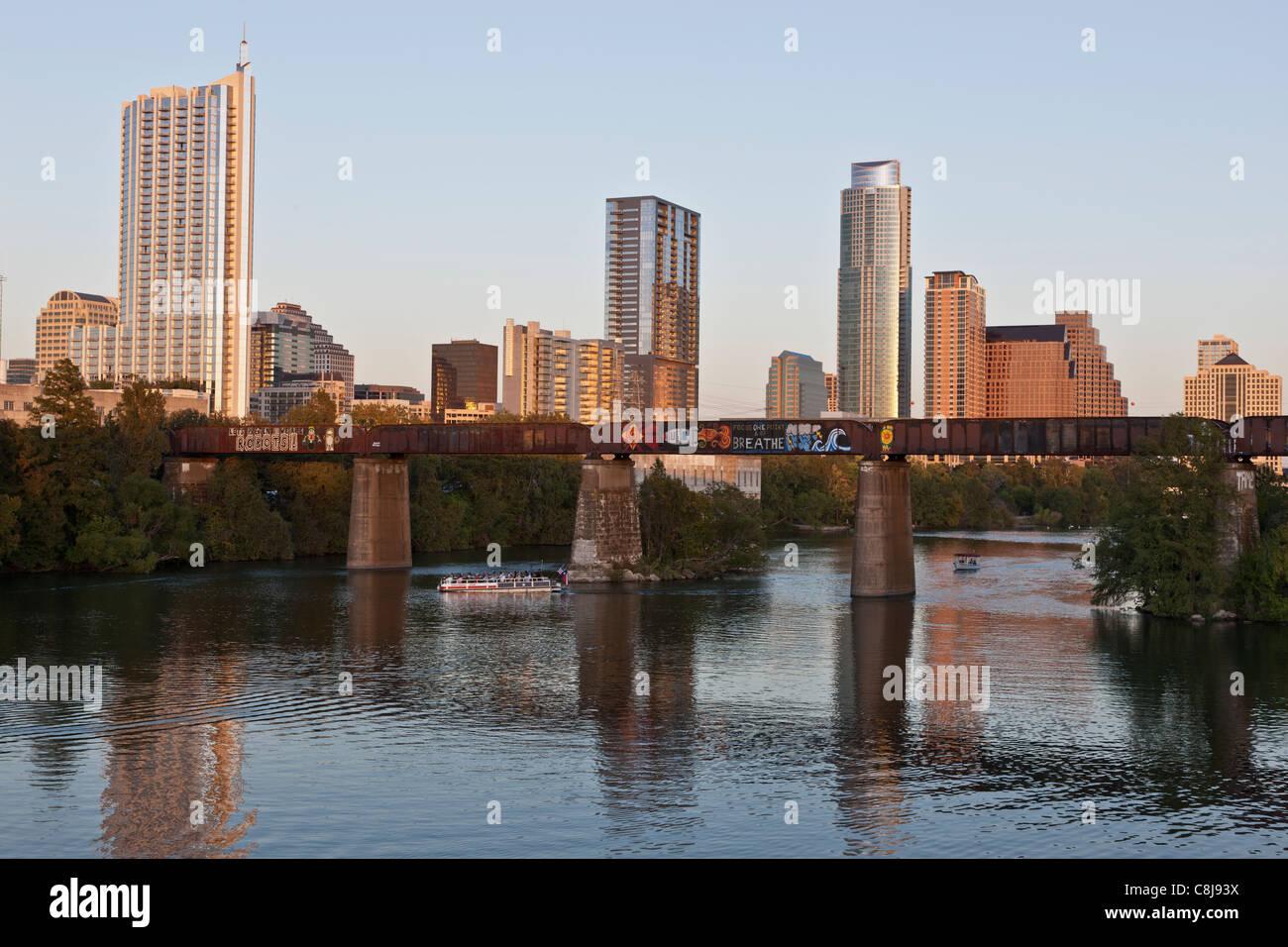 Austin Skyline bei Sonnenuntergang Stockbild