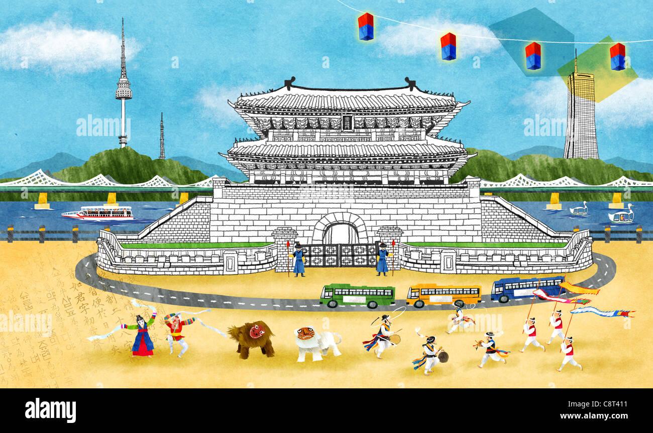 Chinesische traditionelle Löwen tanzen In China Town Stockbild