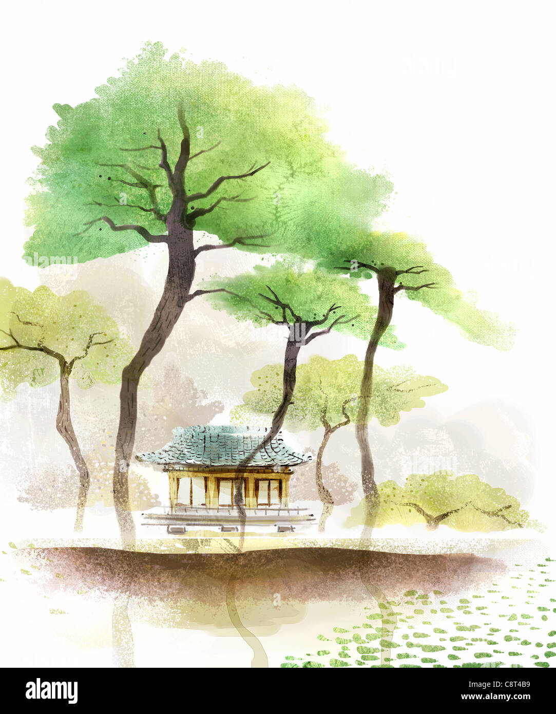 Baum und China traditionelles Haus Stockbild