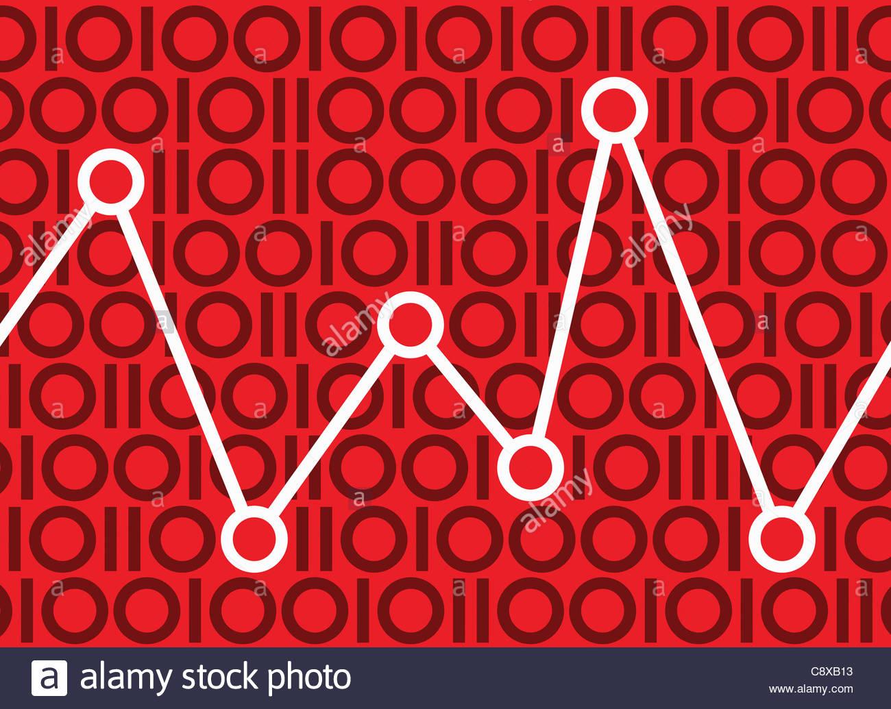 Graph in binären Muster Stockbild