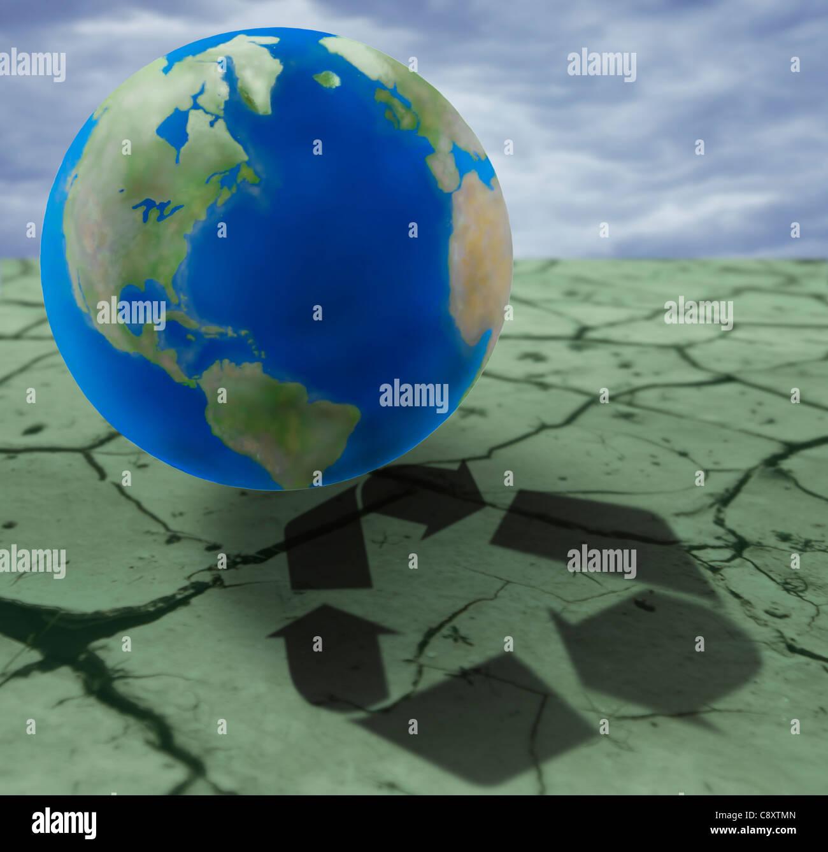 Erde auf rissigen Boden mit recycling-Zeichen, digital composite Stockbild