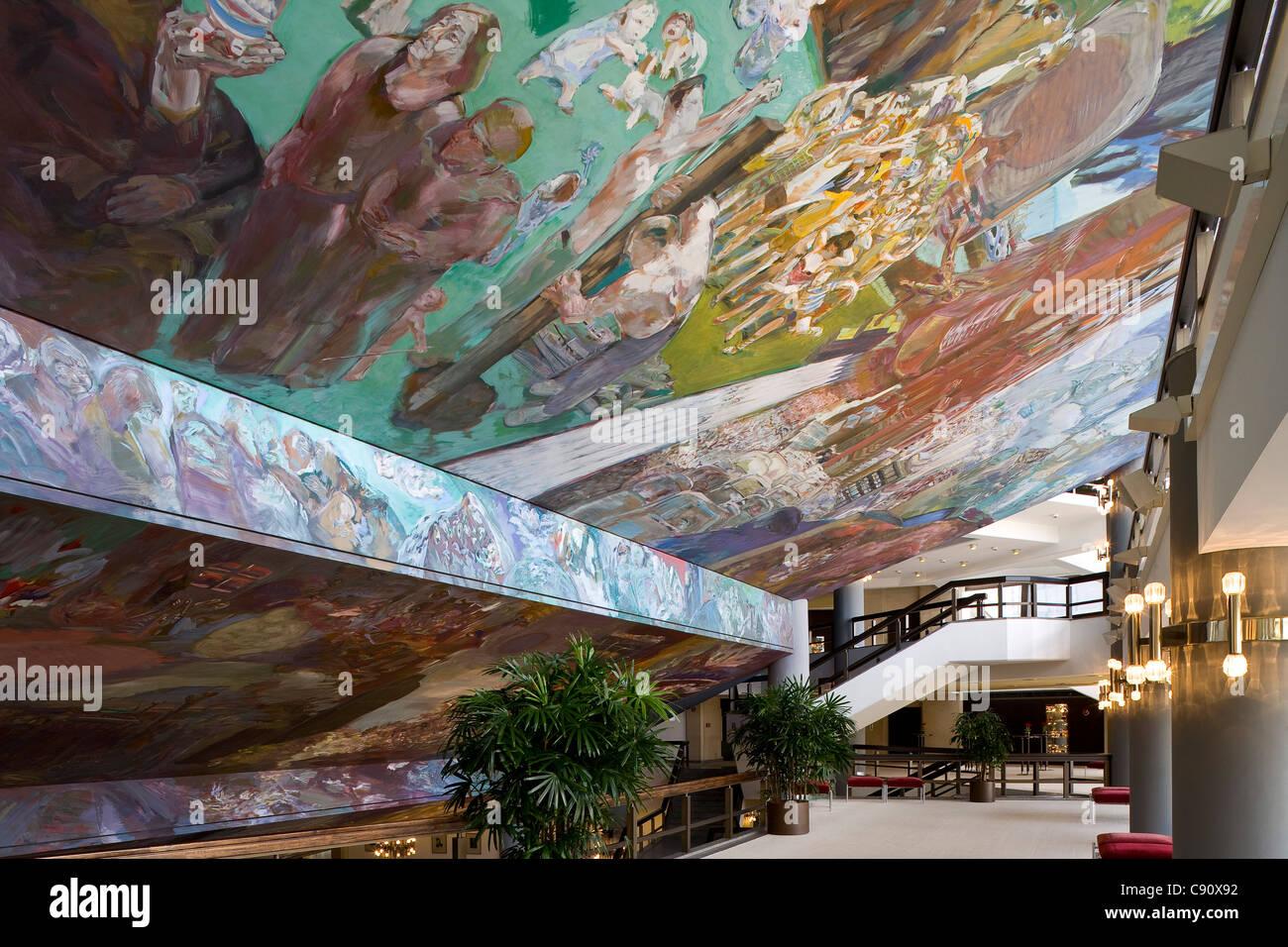 Deckengemälde Gesang Vom Leben im Foyer des neuen Gewandhaus in Leipzig, Sachsen, Deutschland, Europa Stockbild
