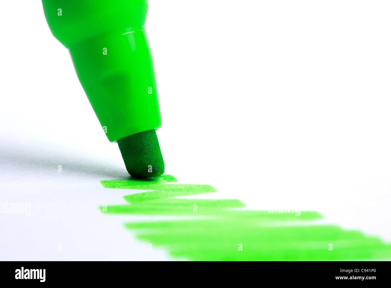 Grünen Textmarker Stockfoto