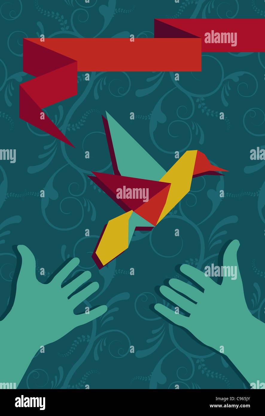 Origami-Kolibri-Grußkarte und schützende Hände im Porträt Zusammensetzung. Vektor-Datei zur Stockbild