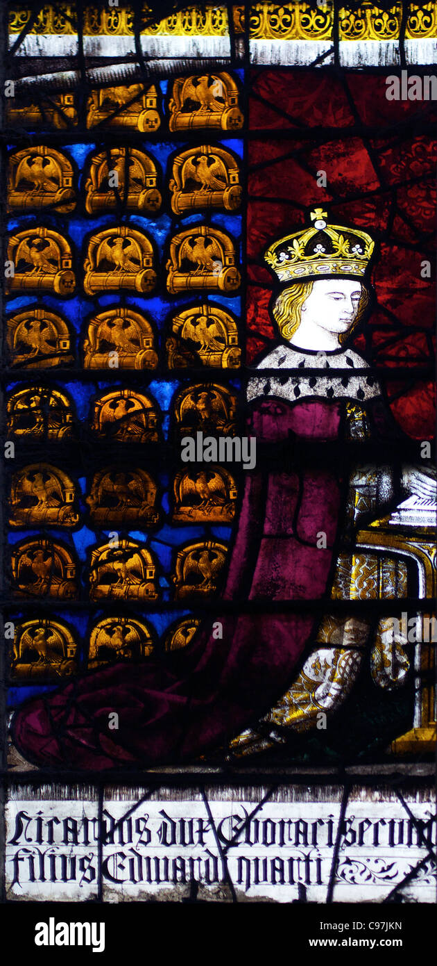 Richard Duke of York, Royal Fenster, Nordwest Querschiff, mittelalterliche Glasmalereien, die Kathedrale von Canterbury, Stockbild