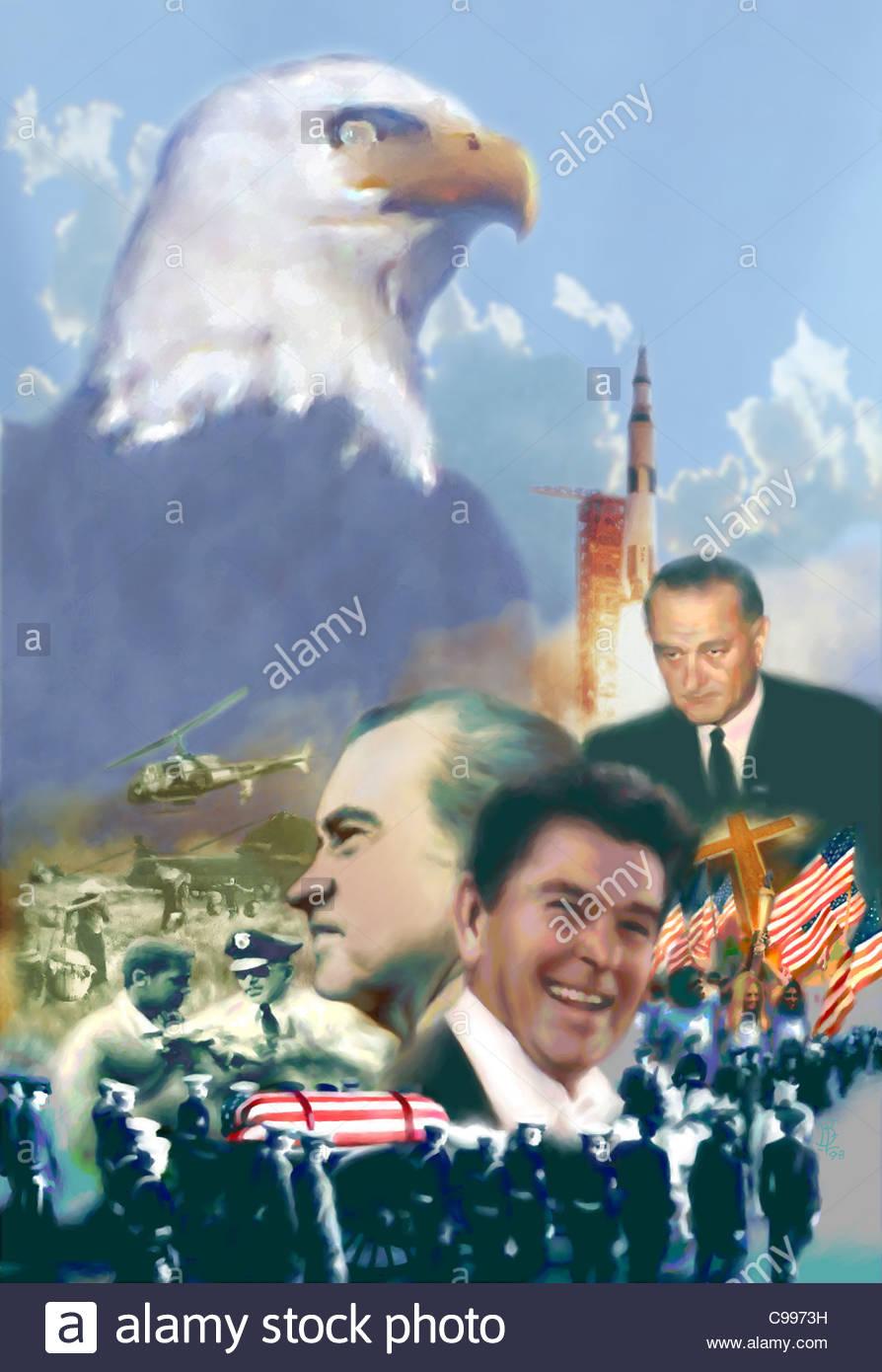 Amerikanische Politiker Geschichte Collage 2 historischen historischen historisch sein Stockbild