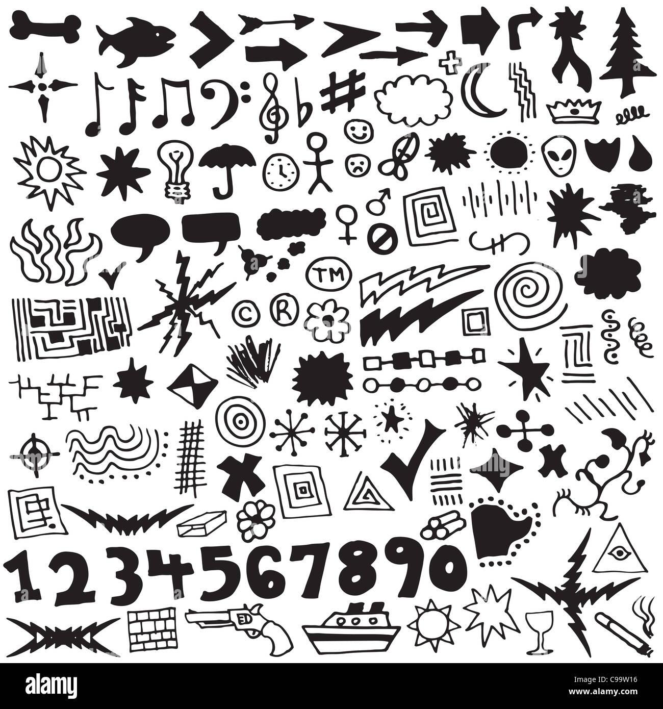 Sammlung von über 120 einzigartige, handgezeichnete Design-Elemente. Stockbild