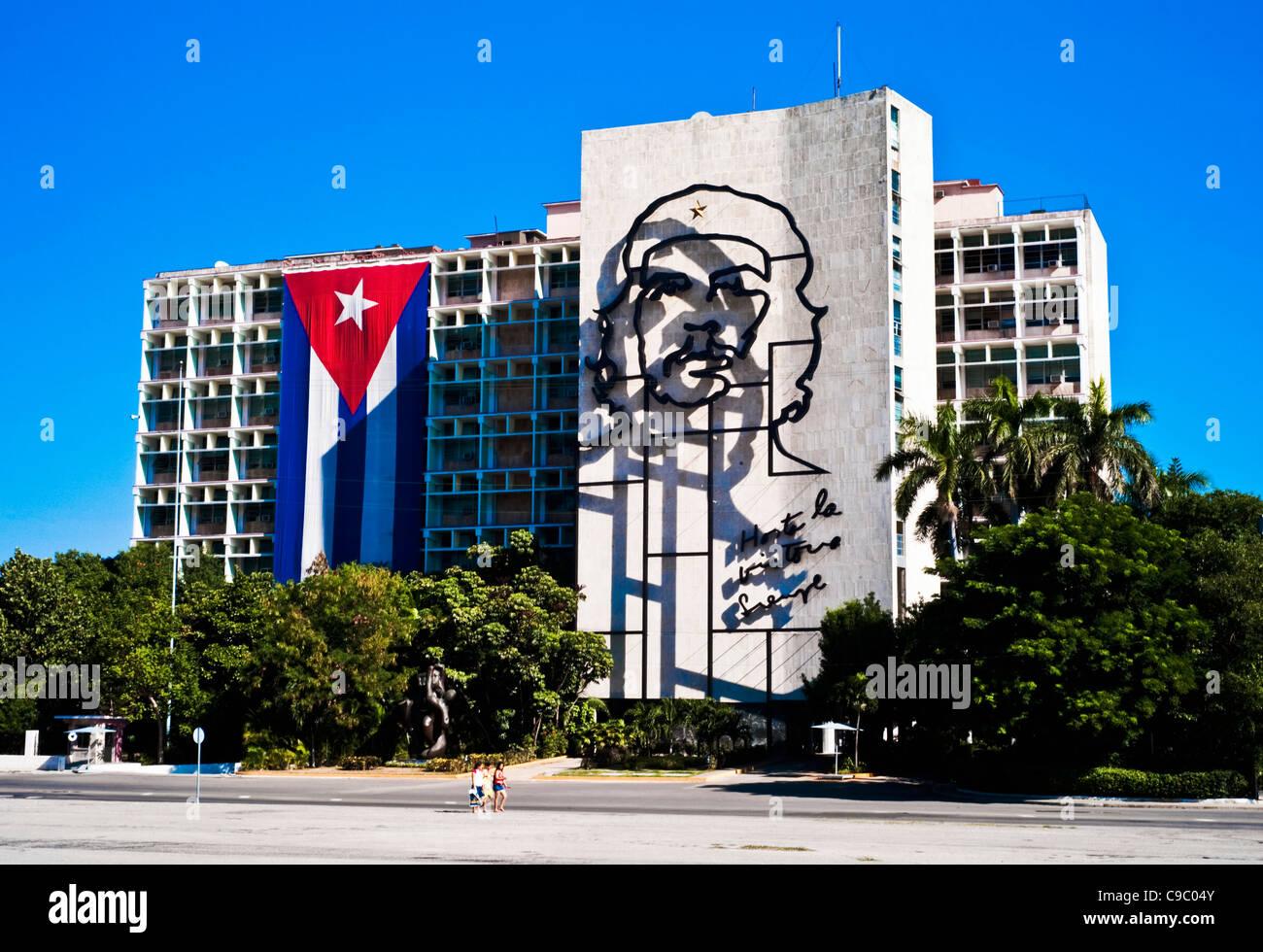 Kuba, Karibik, Havanna, Che Guevara Eisen Kunstwerk auf das Innenministerium auf revolutionäre Platz. Stockbild
