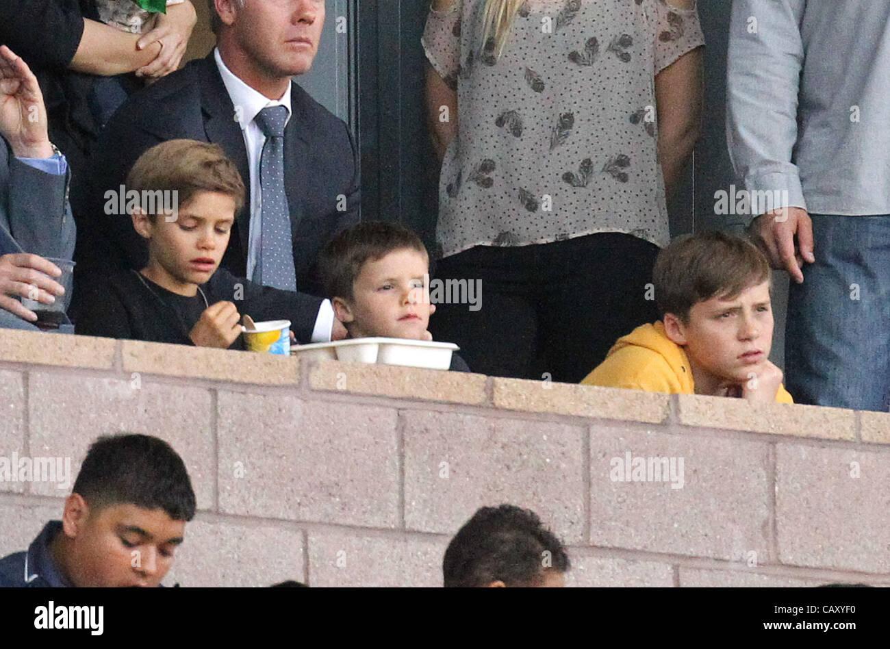 Los Angeles, Kalifornien, USA. 05 Mai 2012. Cruz, Romeo und Brooklyn Beckham an der Los Angeles Galaxy V NY Red Stockbild