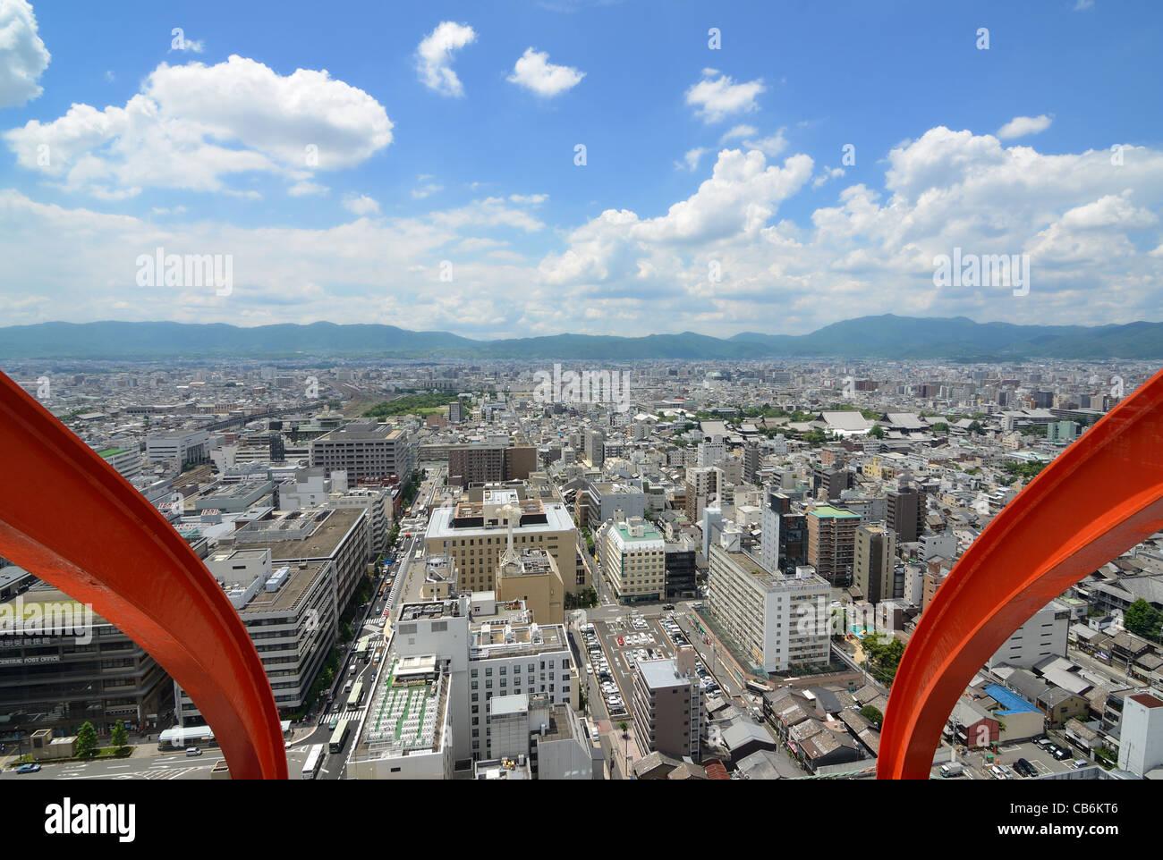 Luftaufnahme von Kyoto, Japan. Stockbild