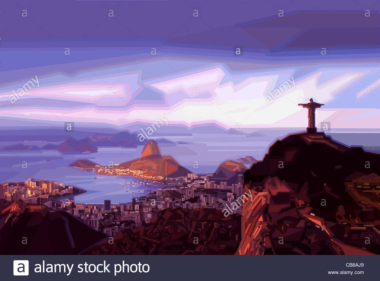 Reihe Stadt Rio de Janeiro Karneval Stadt städtische Urbanität Städte Stadt In Stockfoto