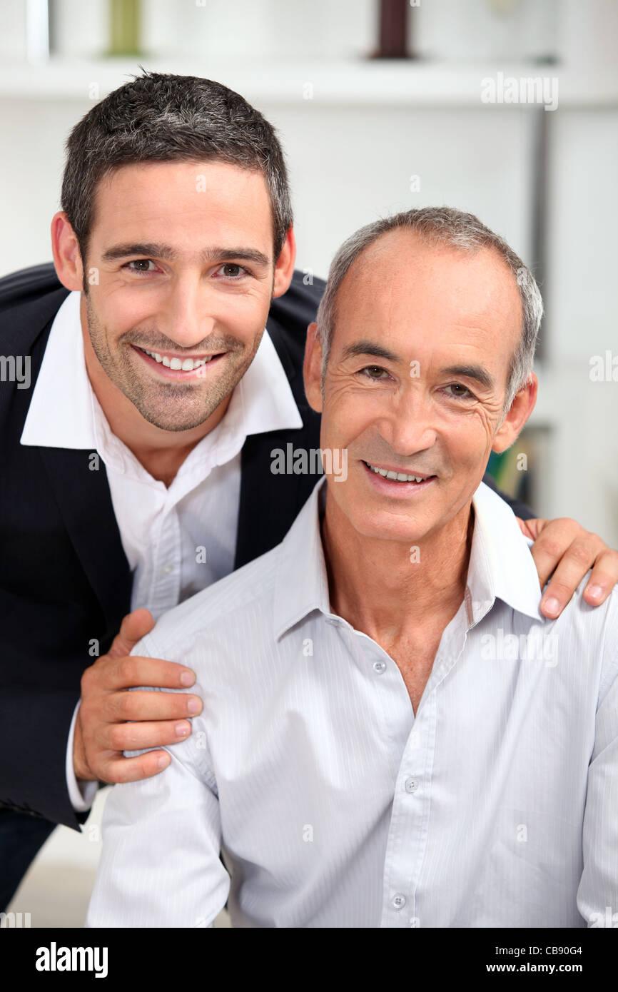 Porträt von Vater und Sohn Stockfoto
