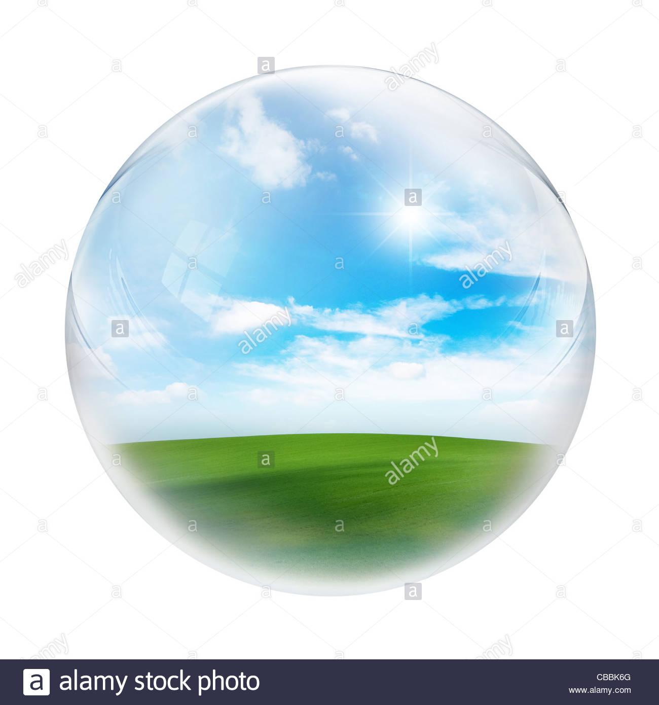 Landschaft im Inneren Kugel Stockbild