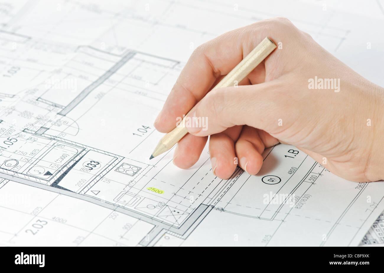 Teil des architektonischen Projektes Stockbild