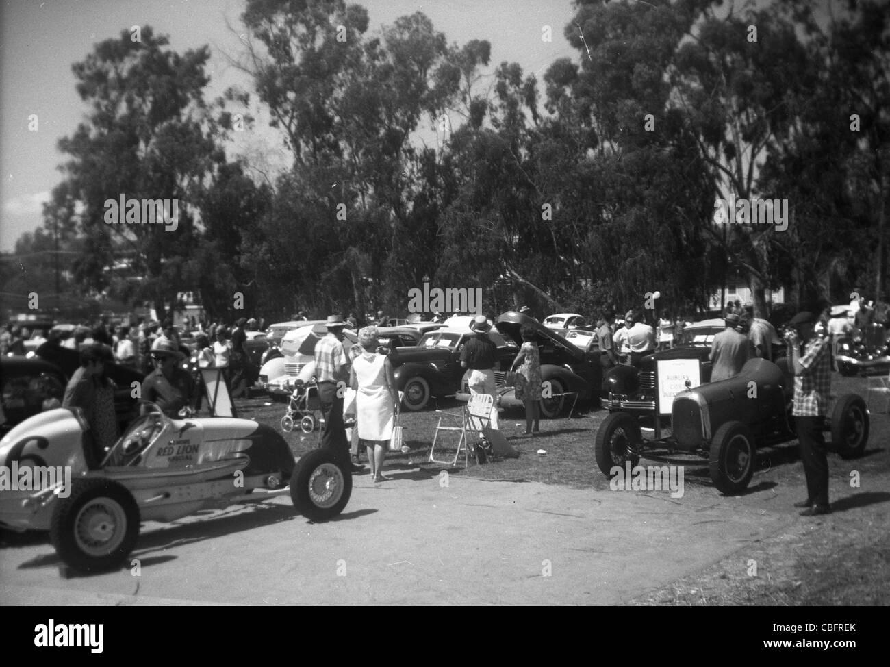 1960er Jahre Auto Show südlichen Kalifornien Rennen Autos Sportwagen geparkt Stockbild