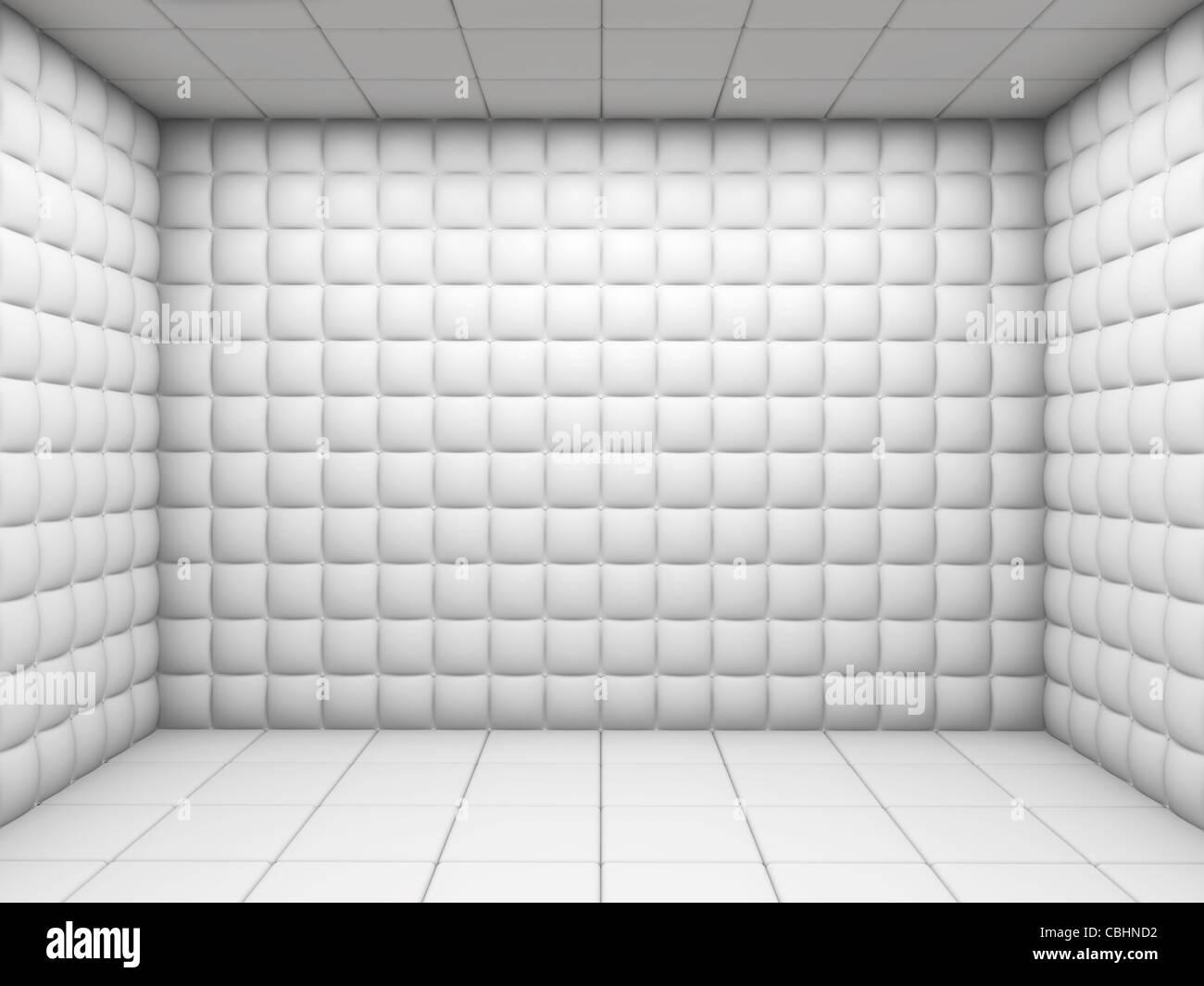 weiße Nervenheilanstalt gepolstert Zimmer leer mit Textfreiraum Stockfoto