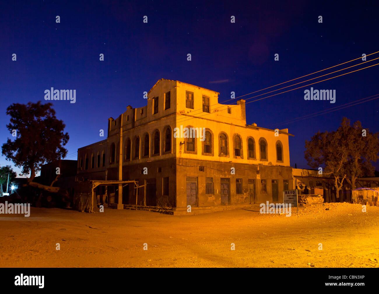 Ehemaligen Osmanischen Reiches Haus keine Menschen durch Nacht Berbera Somaliland Stockbild