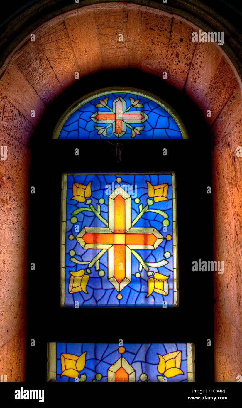 cathedral church window mosaic stockfotos cathedral. Black Bedroom Furniture Sets. Home Design Ideas