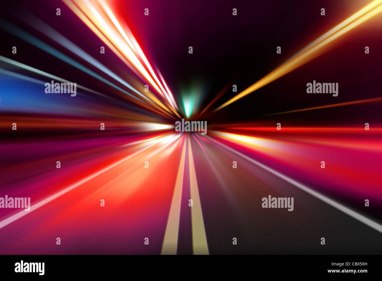 abstrakte Nacht Beschleunigung Geschwindigkeit Bewegung Stockbild