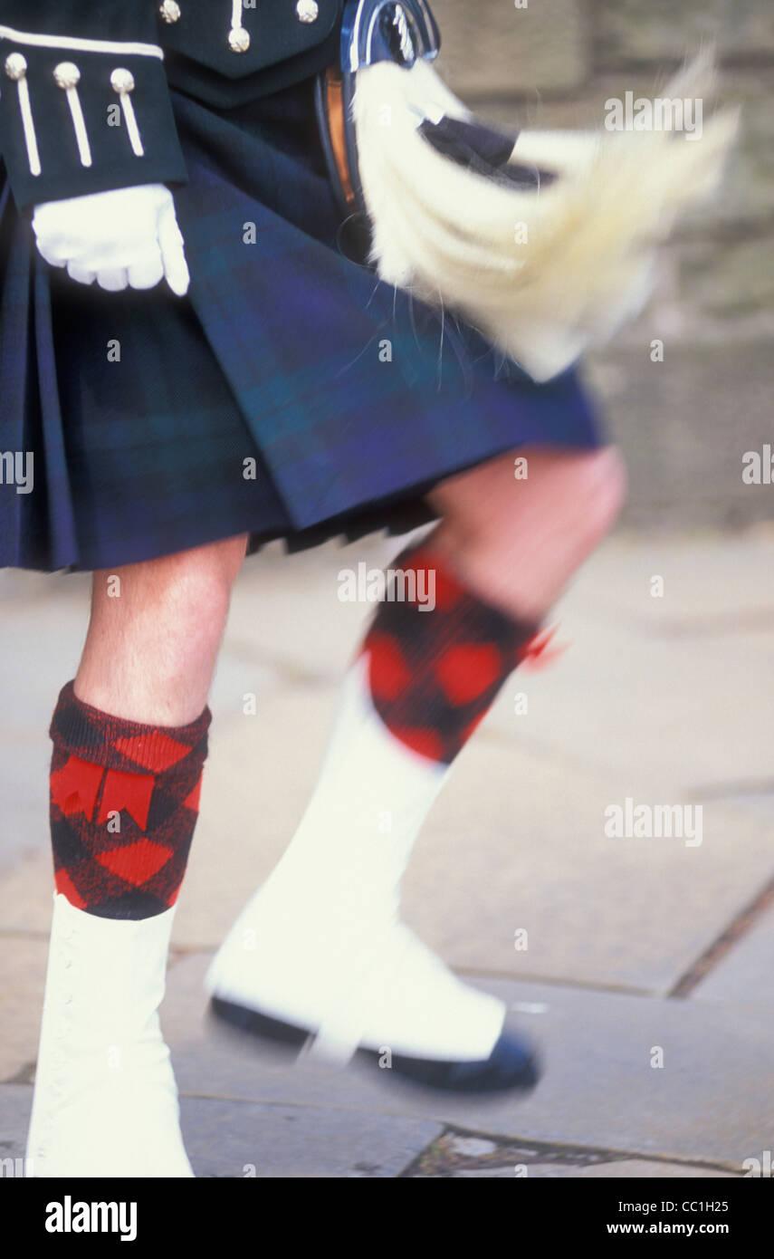 Slow-Motion Schotte im Kilt mit beweglichen Sporran Schottland GB UK EU Europa Stockbild