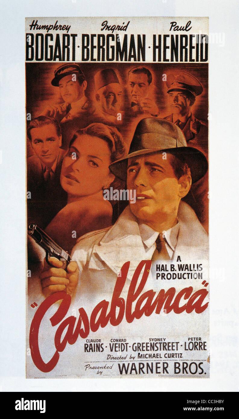 Filme: Casablanca, 1942. Unter der Regie von Michael Curtiz Humphrey Bogart, Ingrid Bergman. Plakat. Stockbild
