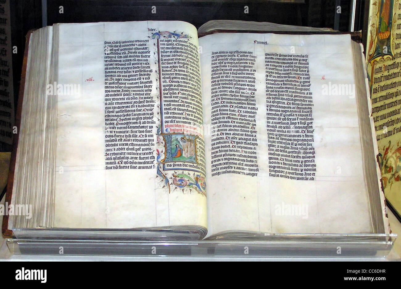 Bibel handschriftlich in lateinischer Sprache, auf dem Display in Malmesbury Abbey, Wiltshire, England. Stockbild