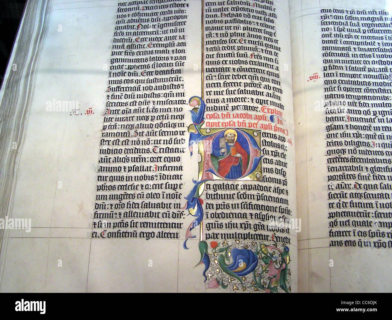 Leuchtschriften in einer lateinischen Bibel des 1407AD auf dem Display in Malmesbury Abbey, Stockbild