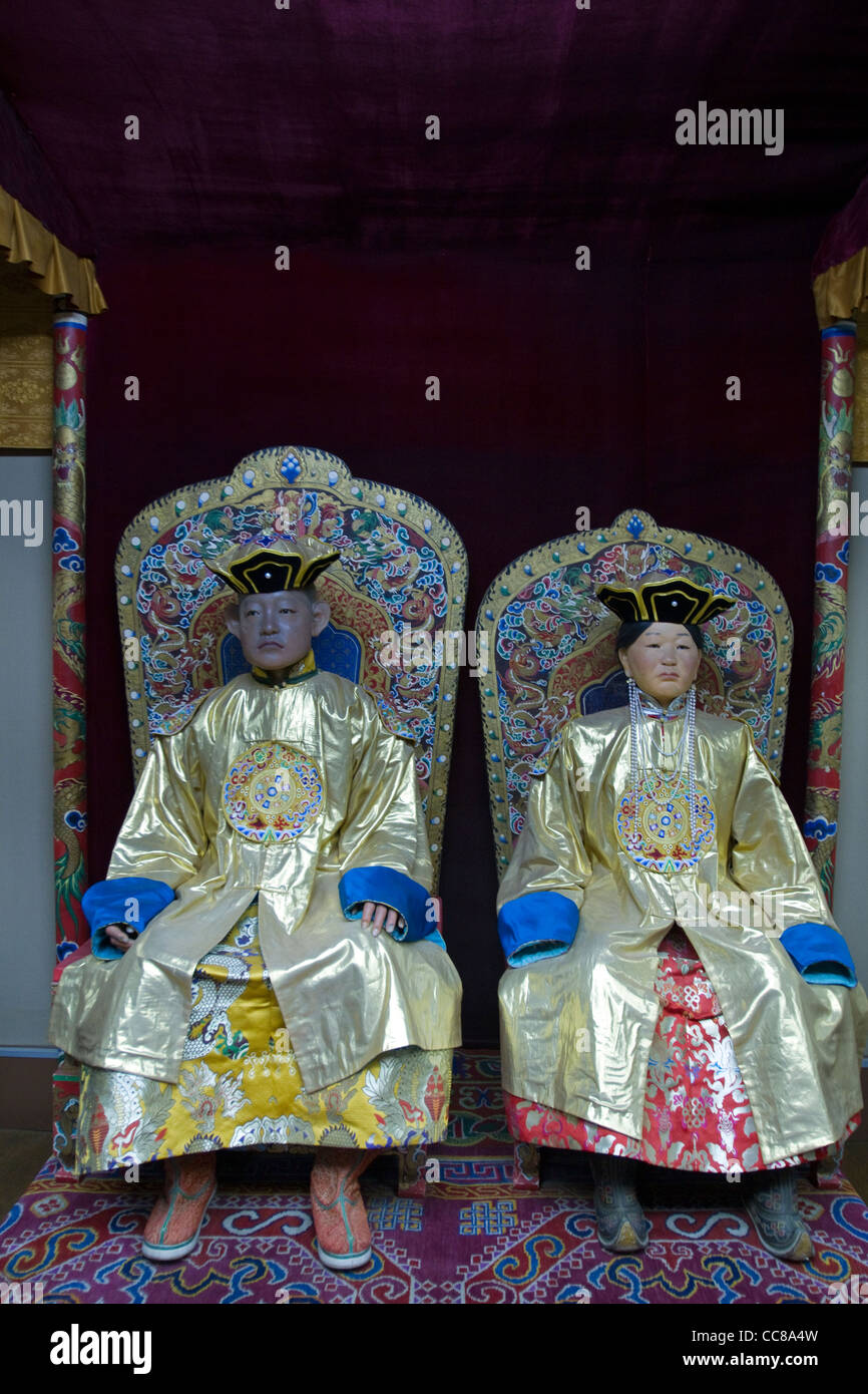Königliche mongolischen Kostüme nationalen Museum für mongolische Geschichte Ulaanbaatar, Mongolei Stockbild