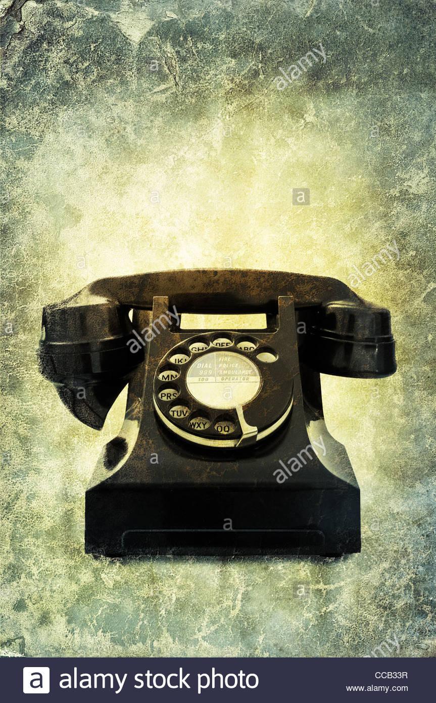 Vintage schwarze Telefon Stockbild