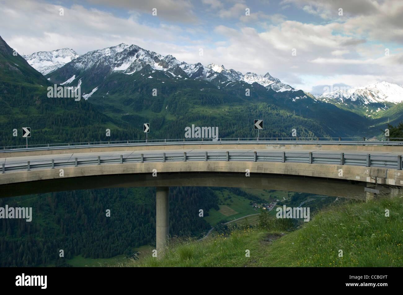 Überführung des St. Gotthard-Pass, st. Gotthardpass, Schweiz Stockbild