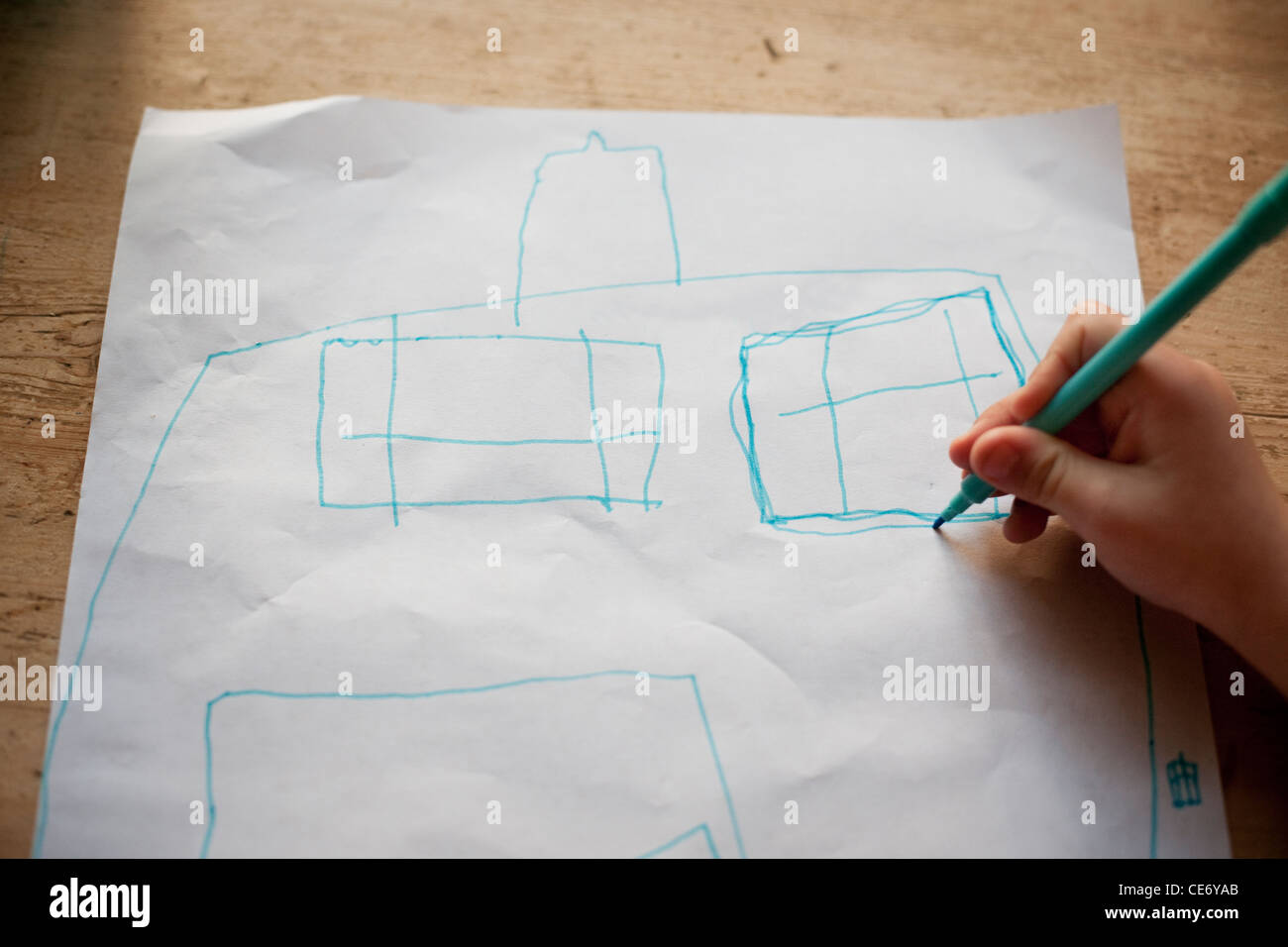 Kind Zeichnung Bild des Hauses Stockbild