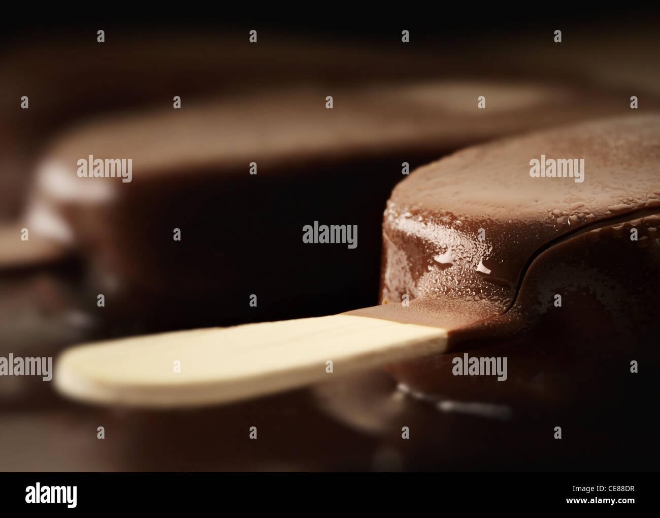 Melting Ice Cream Chocolate Bar Nahaufnahme Stockbild