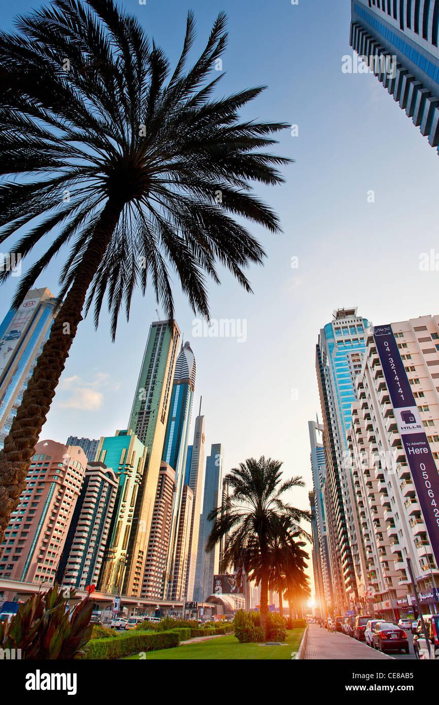 Dubai, Sheikh Zayed Road Stockbild