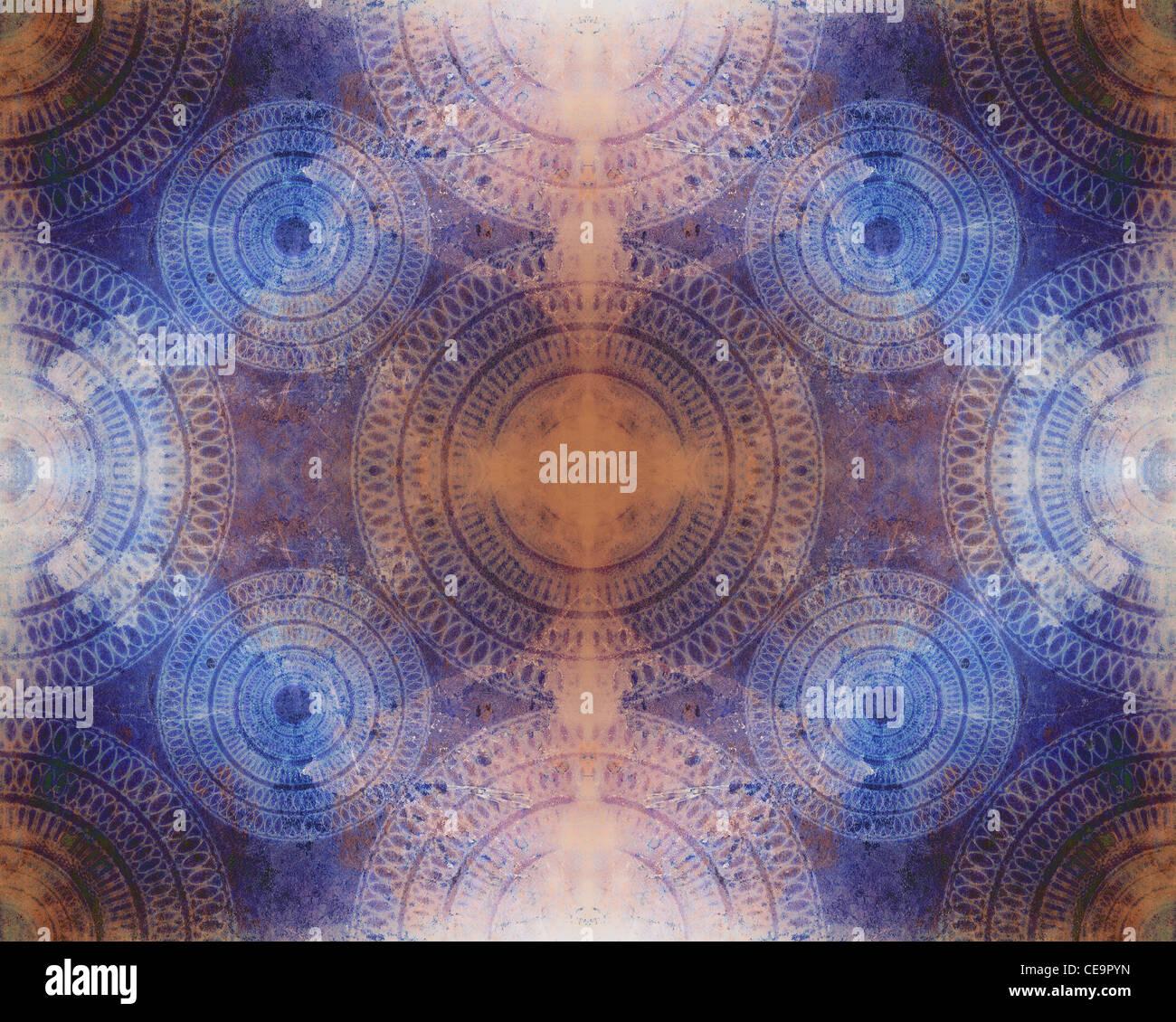 Eine sehr detaillierte und komplizierte nahtlose abstrakte Textur Hintergrundbild mit Mandala Spiralmuster. Stockbild