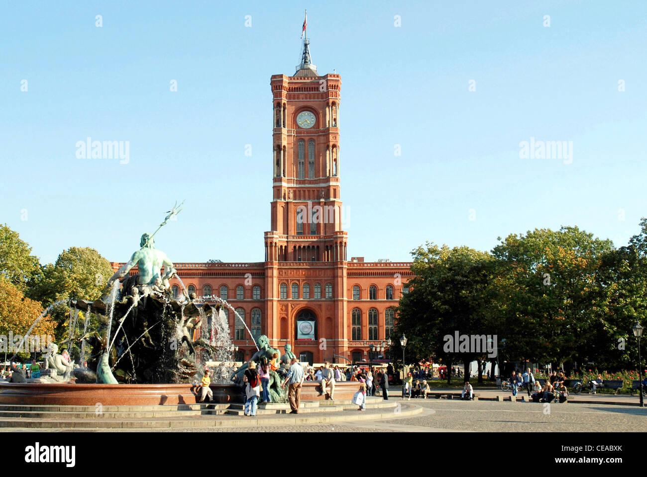 Rote Rathaus in Berlin: Residenz des Bürgermeisters und der Verwaltung Sitzes des Bundeslandes Berlin. Stockbild