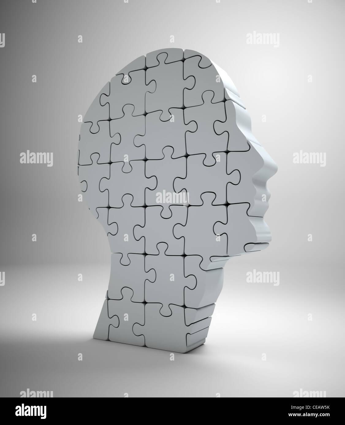 Einen männlichen Kopf Build aus Puzzle-Teile Stockfoto