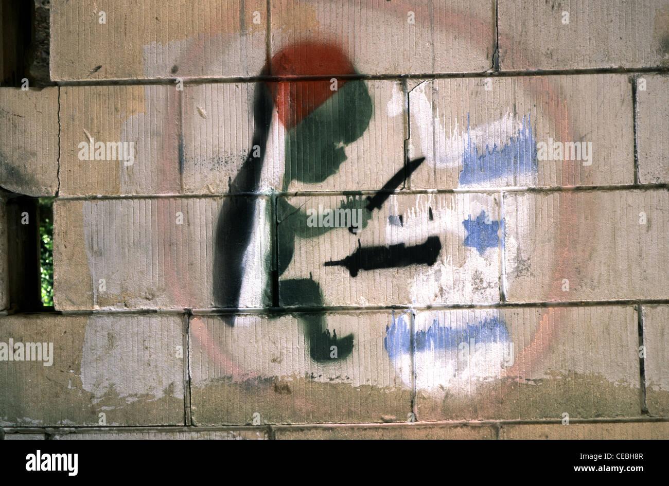 Kryptische Zeichnung an der Wand Darstellung Intifada Konflikt in Israel Stockbild