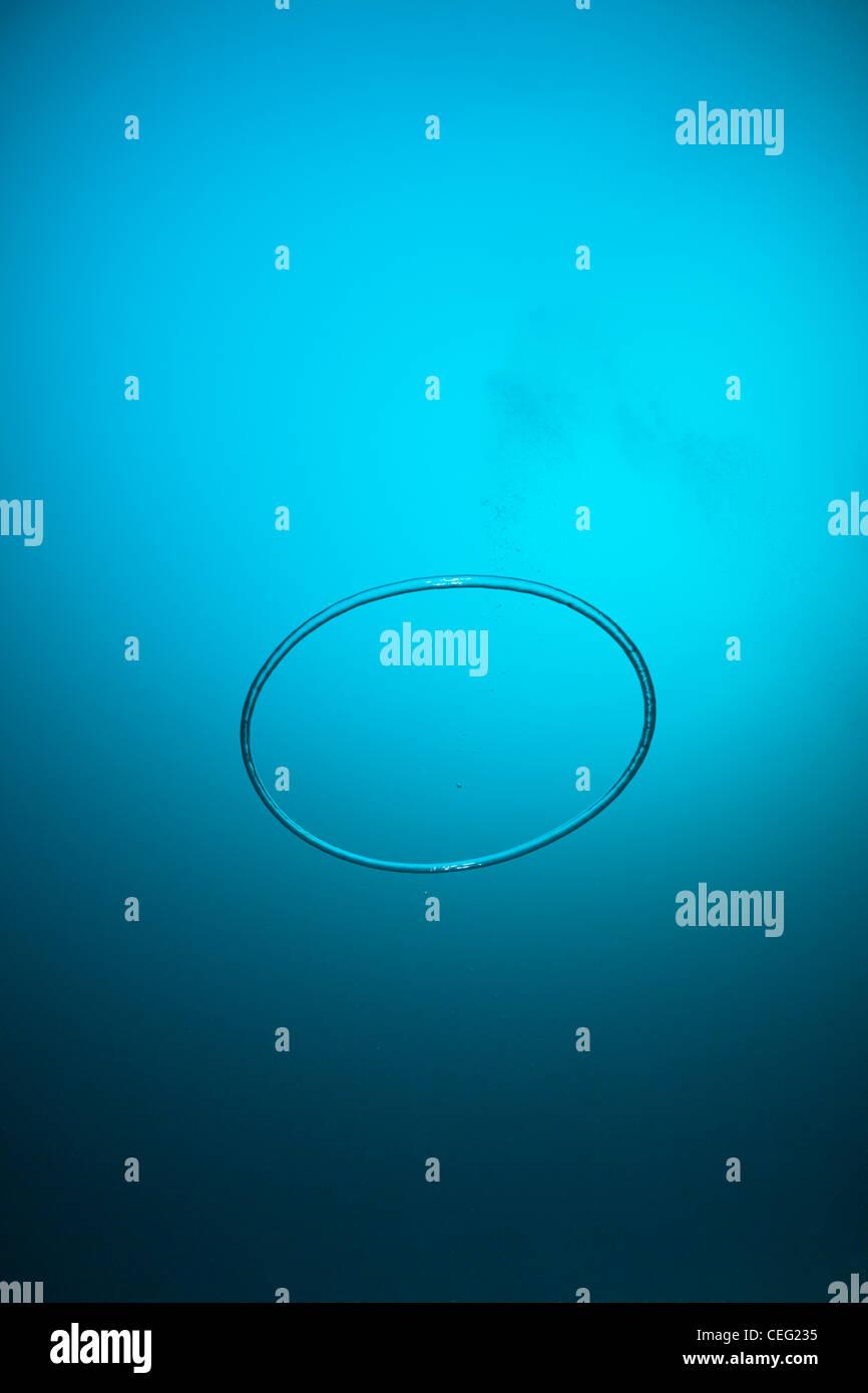 Unterwasser Blasenring gemacht durch Taucher, Baa-Atoll, Indischer Ozean, Malediven Stockbild