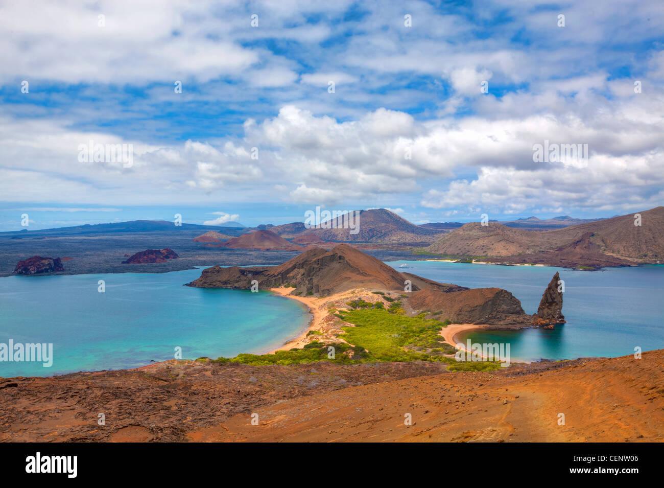 Blick auf den Gipfel auf Bartolome, Galapagos Stockbild