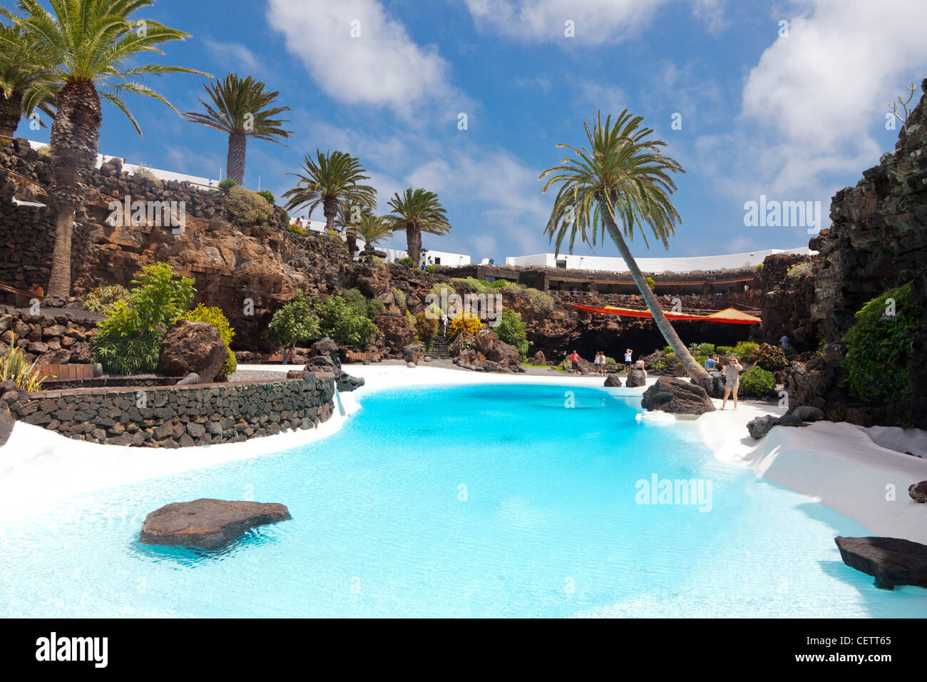 Pool im Jameos del Agua Lanzarote Spanien Stockbild