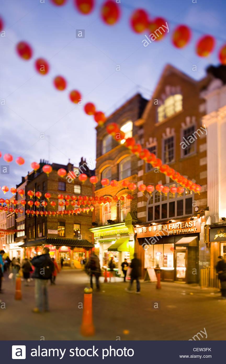 Chinatown, London; mit chinesischen Neujahrsfest Stockbild