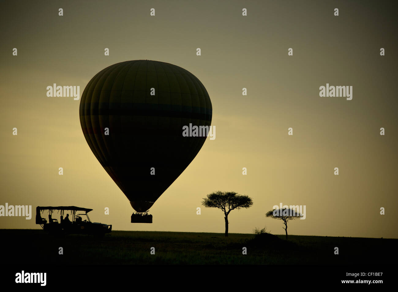 Silhouette von einem Heißluftballon Cart und Bäume bei Sonnenuntergang; Masai Mara Kenia Stockbild