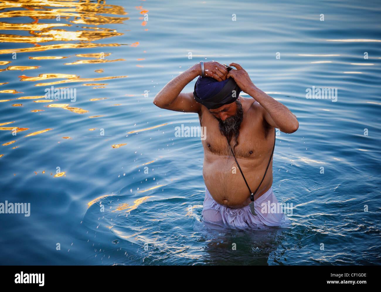 Ein Sikh Mann nimmt ein Bad im Amrit Sarovar, der Pool, die rund um den goldenen Tempel von Amritsar, Punjab, Indien Stockfoto