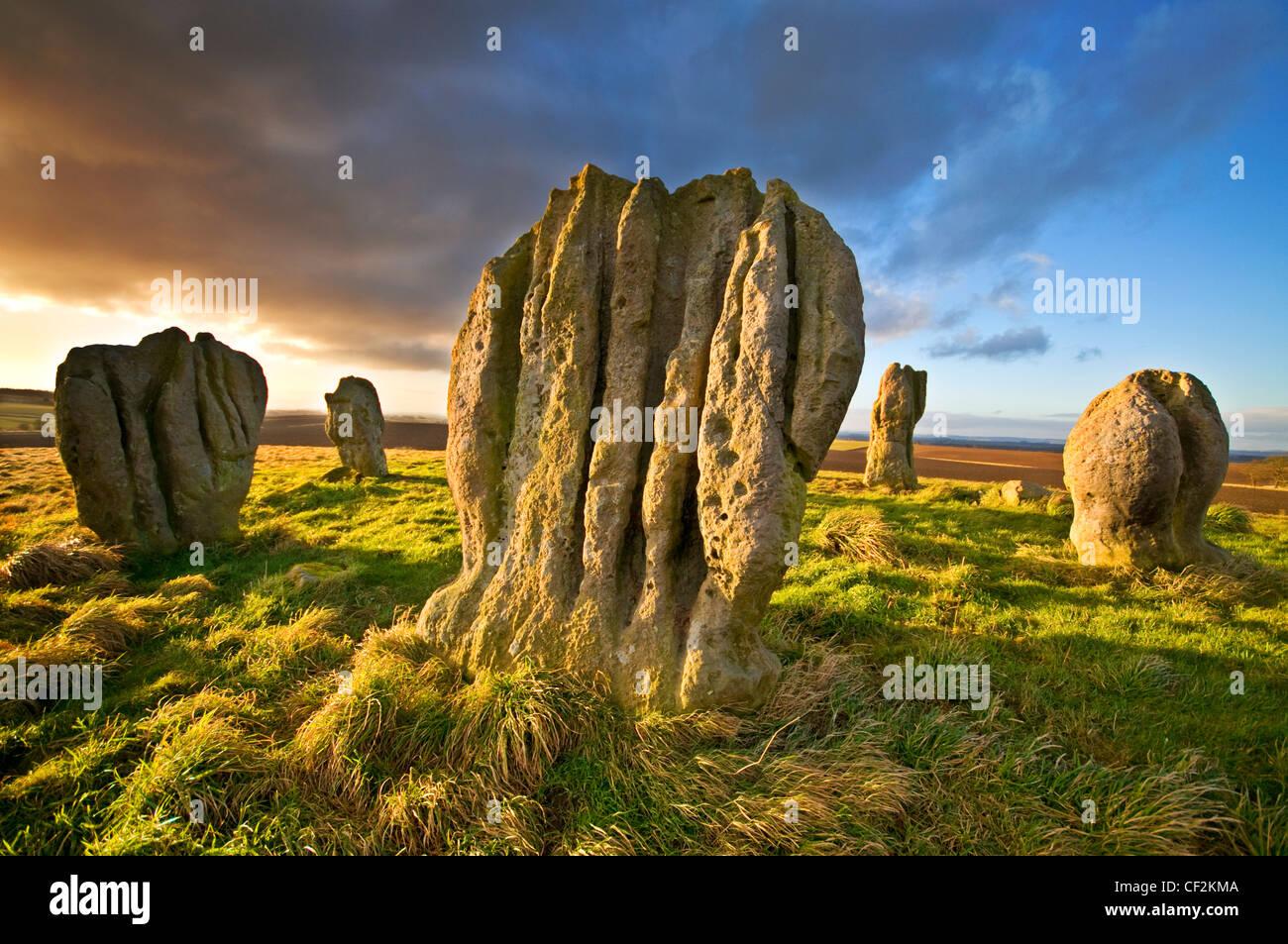 Duddo vier Steinen (obwohl eigentlich gibt es fünf), einem prähistorischen Stein Kreis auf einem Hügel Stockbild