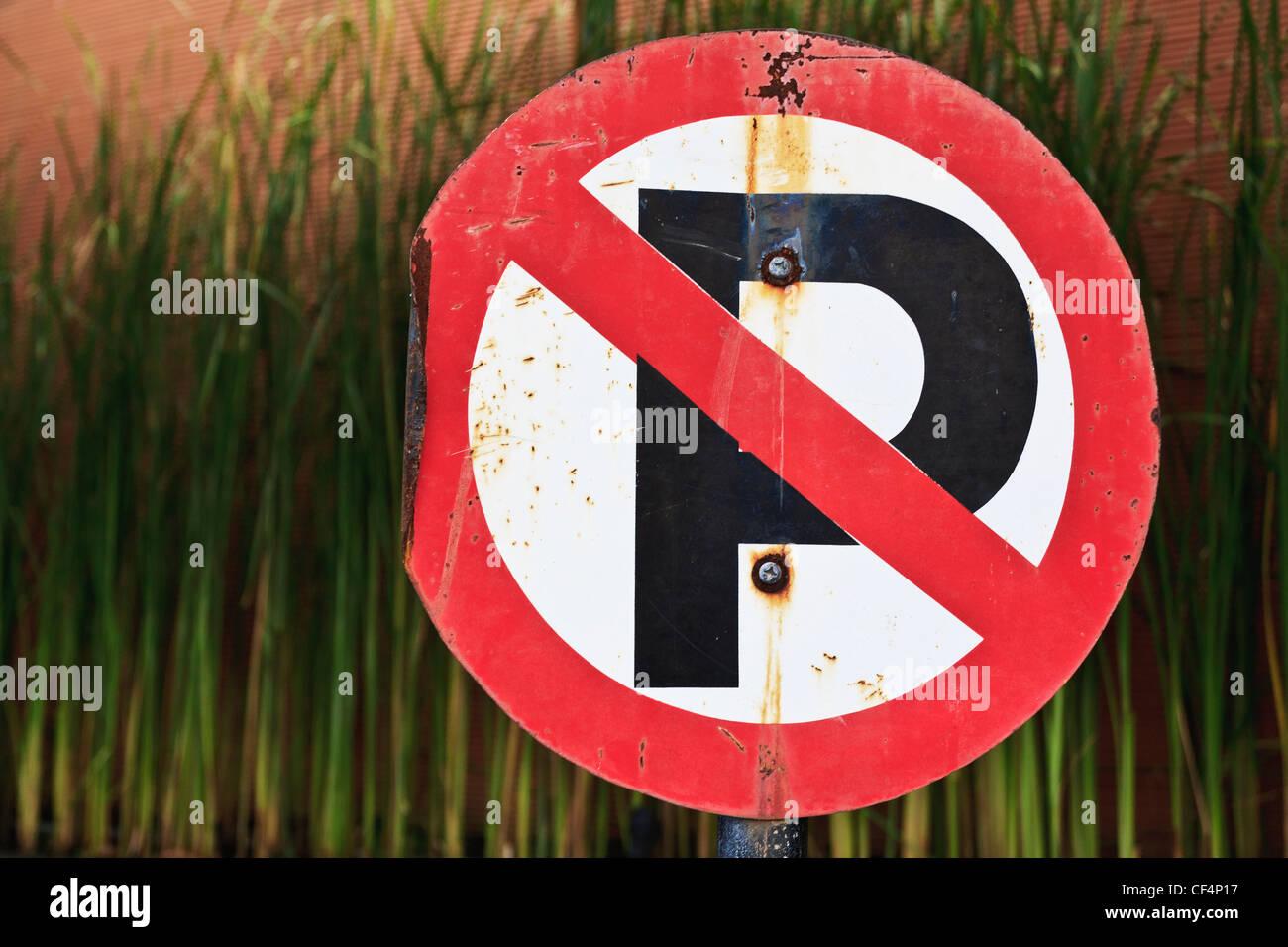 Indonesien, Bali Insel, kein Parkplatz-Schild, Nahaufnahme Stockbild