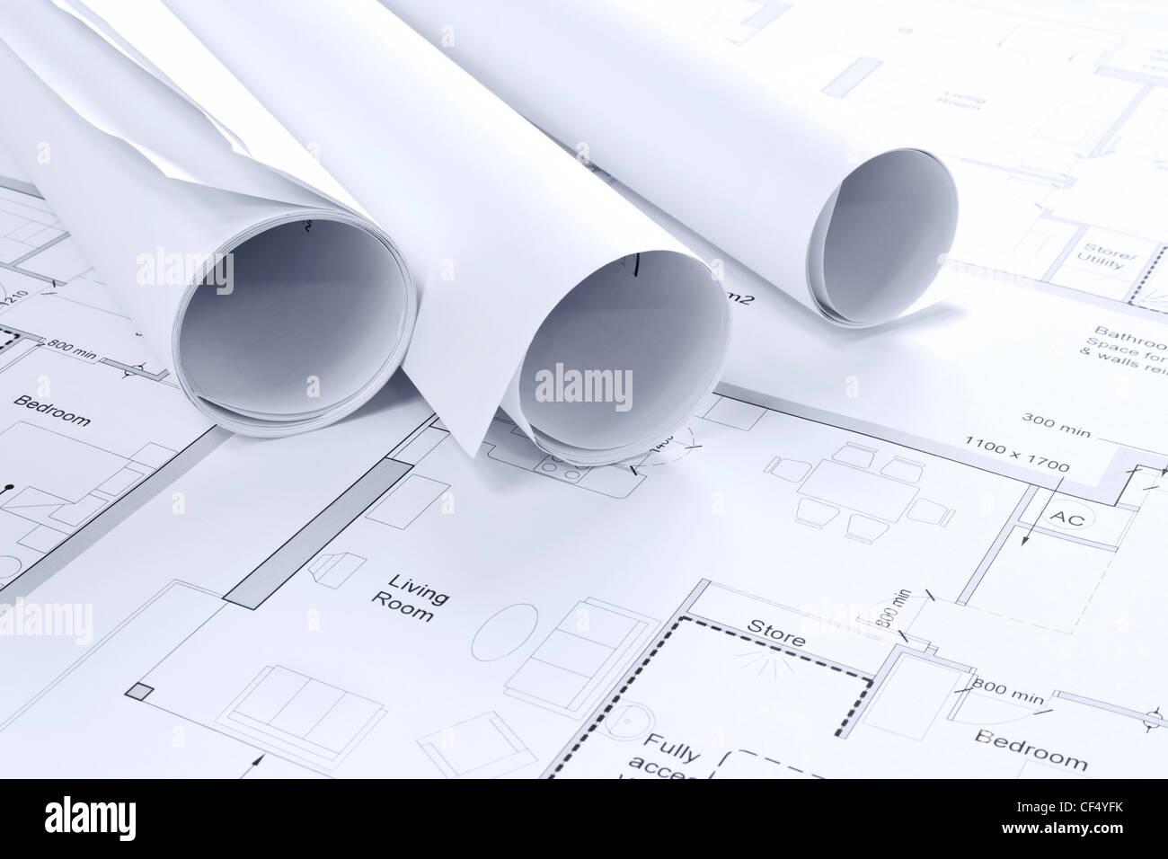 Still-Leben Foto einige architektonische Zeichnungen Stockbild