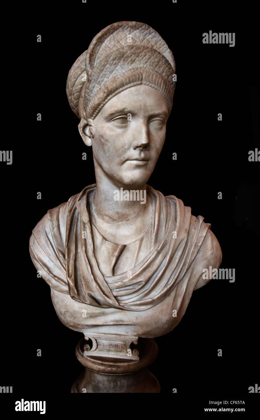 Salonina Matidia 87-117 n. Chr. Nichte des Kaisers Trajan Schwiegermutter von Kaiser Hadrian Marmor römischen Stockbild