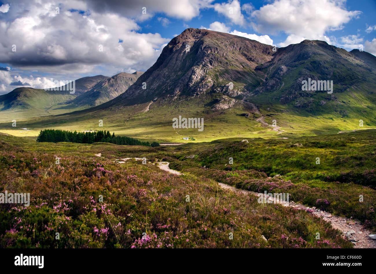 Eine Ansicht des Teufels Treppe in Richtung Pass von Glen Coe in den schottischen Highlands. Stockbild